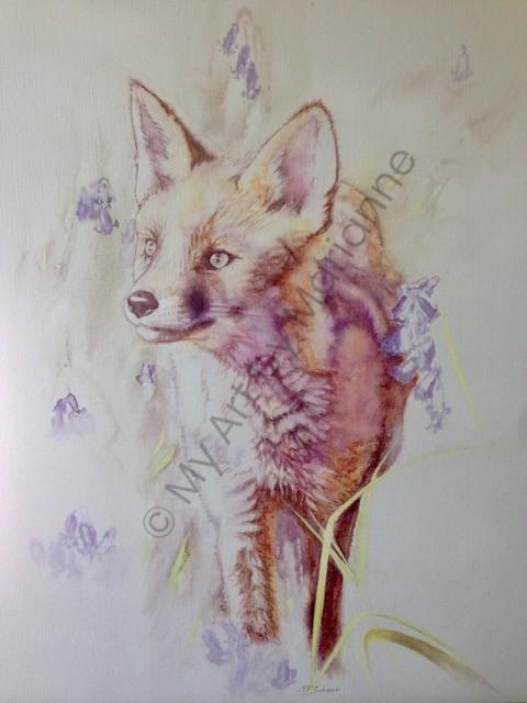 Fox Cub In Bluebells by Marianne P Schipper